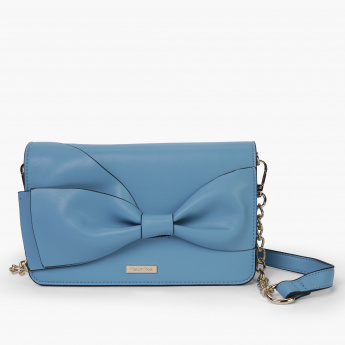 Paprika Bow Detail Sling Bag with Flap and Magnetic Snap Closure