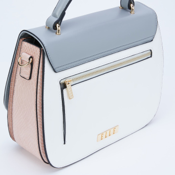 Elle Satchel Bag with Flap and Press Lock Closure