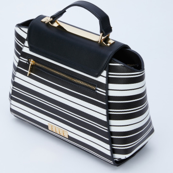 Elle Striped Hand Bag with Flap