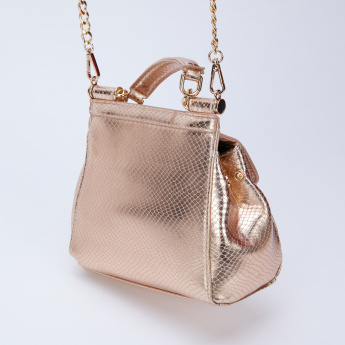 Celeste Textured Sling Bag with Flap and Magnetic Snap Closure