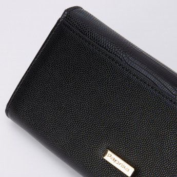 Paprika Textured Wallet with Flap and Zip Closure