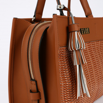 Elle Textured Handbag with Zip Closure