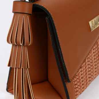 Elle Textured Crossbody Bag with Flap and Tassels
