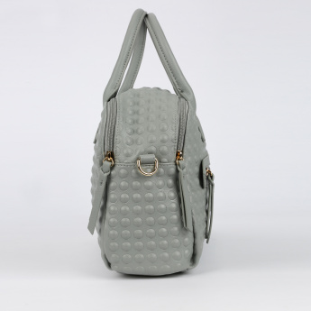 Missy Textured Bowler Bag with Zip Closure