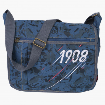Lee Cooper Printed Crossbody Bag with Zip Closure and Flap