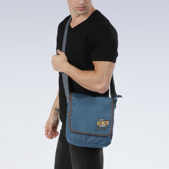 Lee Cooper Printed Messenger Bag with Zip Closure and Flap