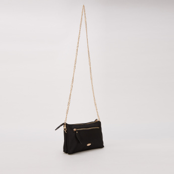 Missy Embroidered Sling Bag with Zip Closure