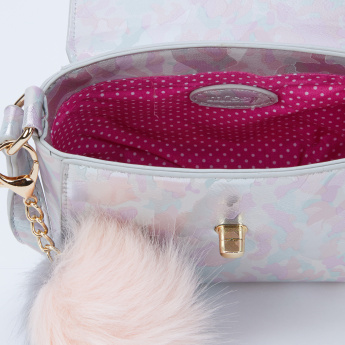 Missy Printed Crossbody Bag with Flap and Pom Pom Detail