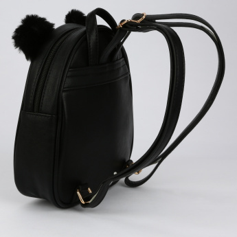 Little Missy Pom Pom Detail Backpack with Zip Closure