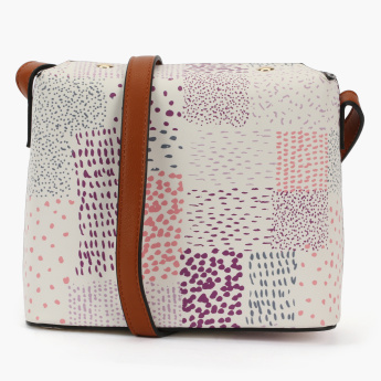 Missy Printed Crossbody Bag with Flap and Adjustable Strap