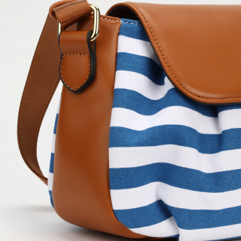 Missy Striped Hand Bag with Flap and Magnetic Snap Closure