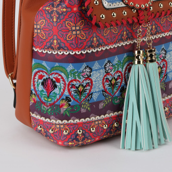 Missy Embroidered Backpack with Flap and Tassels