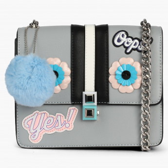 Missy Embellished Sling Bag with Pom Pom Detail