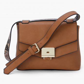 Paprika Crossbody Bag with Flap and Magnetic Snap Closure