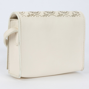 Little Missy Laser Cut Detail Sling Bag with Flap