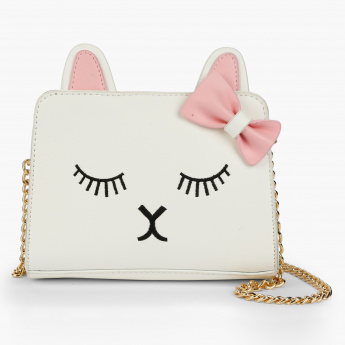 Little Missy Embroidered Sling Bag with Zip Closure and Applique Detail