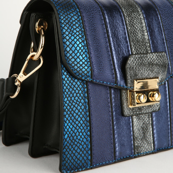Elle Textured Satchel Bag with Adjustable Strap and Double Twist Lock