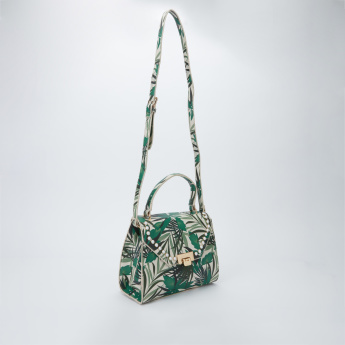Elle Printed Satchel Bag with Adjsutable Strap
