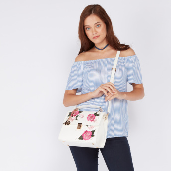 Elle Floral Embroidered Satchel Bag with Push Button Closure