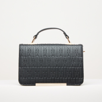 Elle Textured Satchel Bag with Magnetic Snap Closure