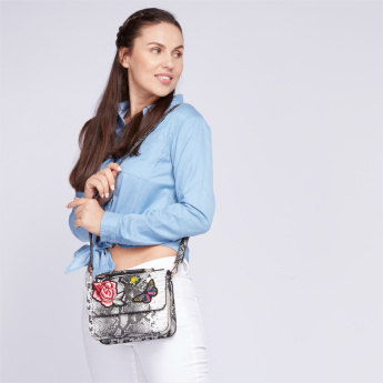 Paprika Textured Satchel Bag with Magnetic Snap Closure and Embroidery