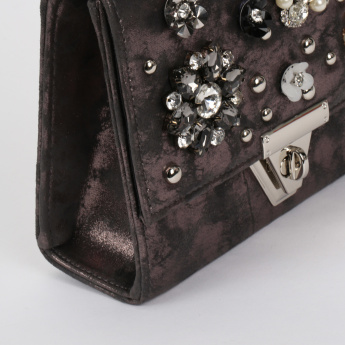 Celeste Embellished Textured Crossbody Bag with Flap