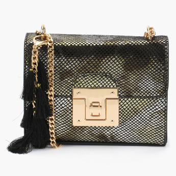 Celeste Textured Crossbody Bag with Metallic Chain Strap