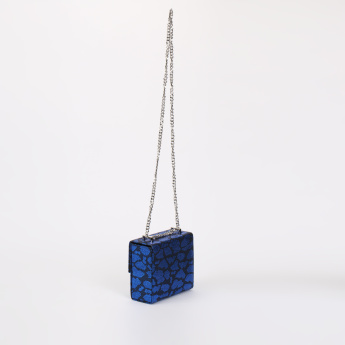 Celeste Textured Sling Bag with Metallic Chain Strap