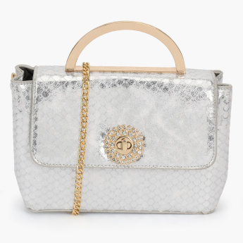 Celeste Textured Satchel Bag with Twist Lock