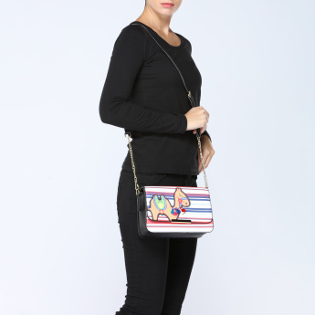 Missy Striped Satchel Bag with Applique Detail
