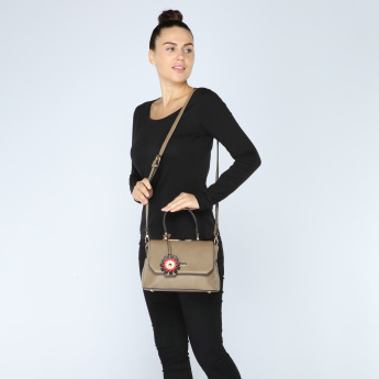 Paprika Textured Satchel Bag with Magnetic Snap Closure