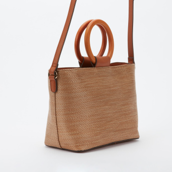 Elle Textured Hand Bag with Zip Closure and Adjustable Strap