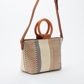 Elle Embroidered Tote Bag with Zip Closure and Adjustable Strap