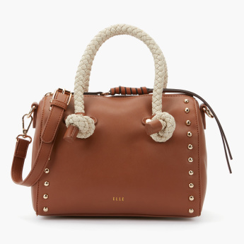Elle Studded Bowler Bag with Zip Closure and Adjustable Strap