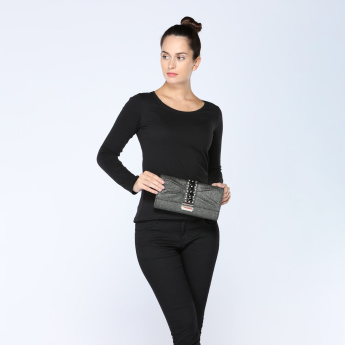 Celeste Embellished Clutch Bag with Metallic Chain Strap