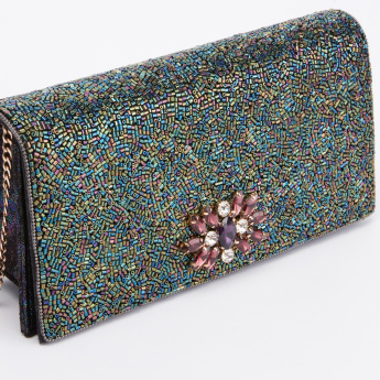 Celeste Bead Detail Clutch with Magnetic Snap Closure