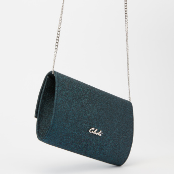 Celeste Embellished Clutch with Magnetic Snap Closure and Long Strap