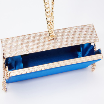 Celeste Embellished Clutch with Metallic Chain Strap