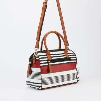 Paprika Striped Handbag with Zip Closure and Adjustable Strap