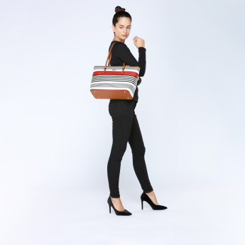Paprika Striped Tote Bag with Zip Closure