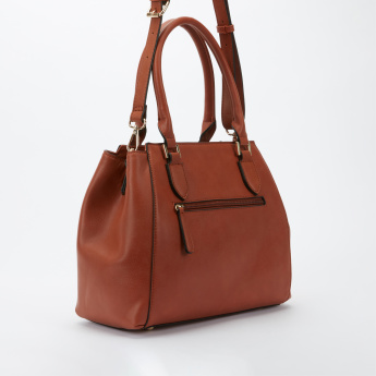 Paprika Textured Tote Bag with Zip Closure and Adjustable Strap