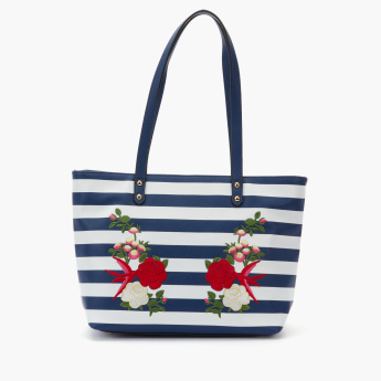 Paprika Embroidered Tote Bag with Zip Closure