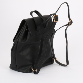 Paprika Textured Backpack with Drawstring Closure