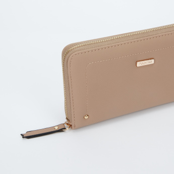 Paprika Stitch Detail Wallet with Zip Closure