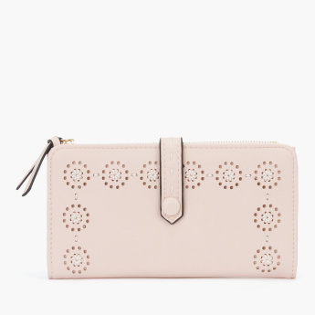 Paprika Perforated Bi-Fold Wallet with Press Button Closure