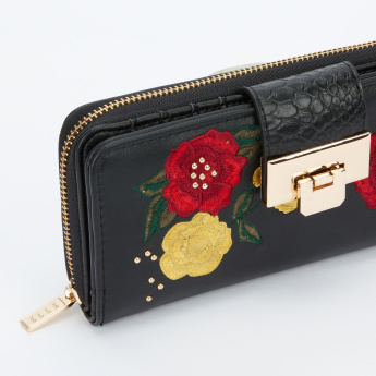 Elle Embroidered Wallet with Zip Closure