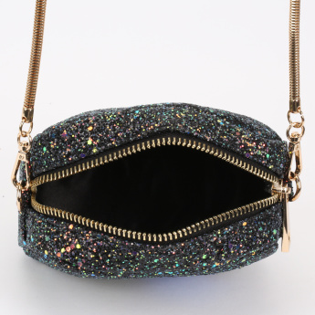 Missy Glitter Detail Sling Bag with Metallic Chain Strap