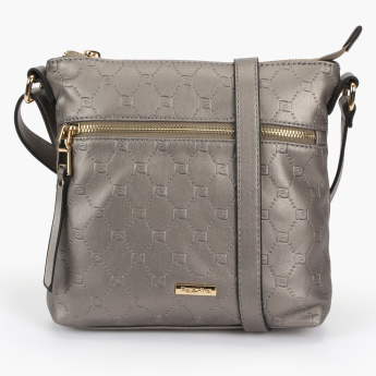 Paprika Embossed Crossbody Bag with Zip Closure and Adjustable Strap