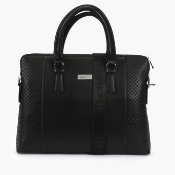 Duchini Textured Portfolio Bag with Zip Closure and Adjustable Strap