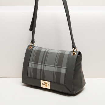 Paprika Chequered Satchel Bag with Twist Lock and Adjustable Strap